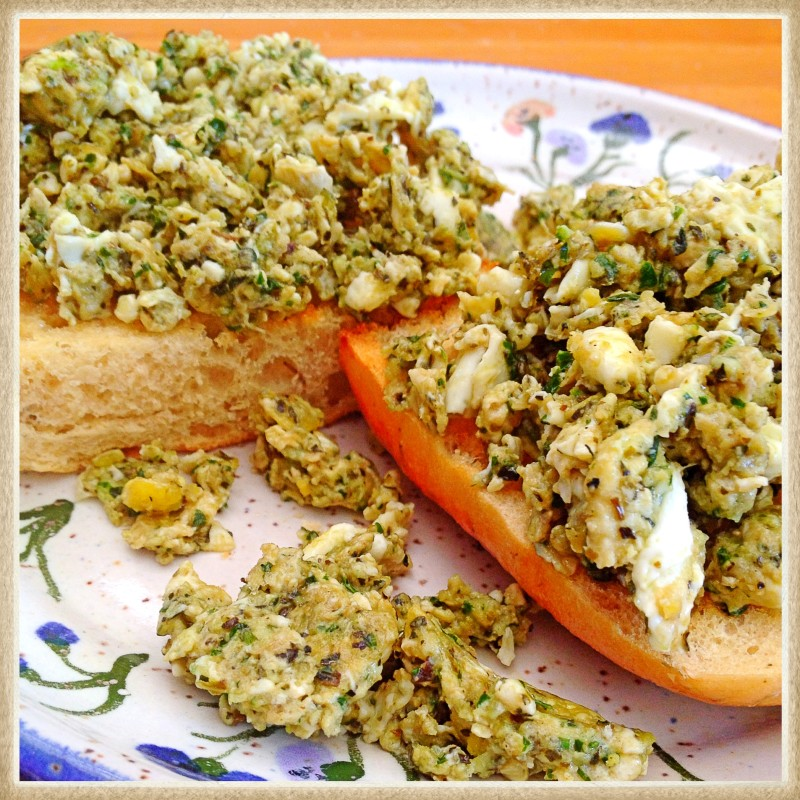 Pesto Eggs on Focaccia