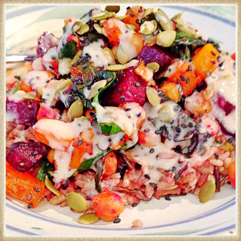 My First Buddha Bowl - squash, beets, chick peas on wild rice by katewares.com